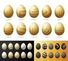 gouden paaseieren instellen. realistische 3d eieren met zwart, wit en glitter gouden ornament geïsoleerd op een witte achtergrond. voor wenskaart, advertentie, promotie, poster, flyer, webbanner vector