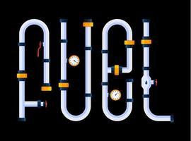 brandstof is een creatief concept. het woord brandstof is gemaakt in een cartoonstijl van lettertype in de vorm van pijpen.