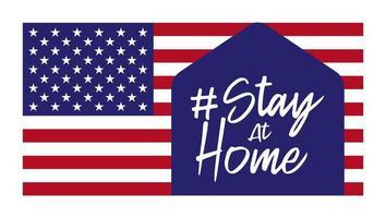 daar een huisje met een woord blijf binnen. het is een teken dat volgt op de covid-19-campagne, blijf thuis-campagne. de achtergrond is de vlag van de vs.