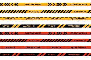 waarschuwingsstrepen. coronavirus waarschuwing naadloze strepen. covid-19 tekens. quarantaine biohazardsymbool. waarschuwingslijn collectie zwarte, rode en gele kleur, geïsoleerd op een witte achtergrond. vector