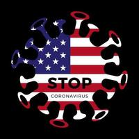 Vlag van de Verenigde Staten van Amerika met stop corona-virus symbool, 2019-ncov, vectorillustratie.