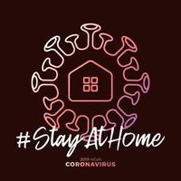blijf thuis teken. covid-19 coronavirus geschreven in typografie posterontwerp. red de planeet van het coronavirus. blijf veilig in huis. preventie tegen virussen. vector