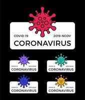 set van coronavirus pandemie-insignes. gezondheid en medische vector illustratie. covid-19-virusuitbraak verspreid. stop het ontwerpconcept van het coronavirus t-shirt.