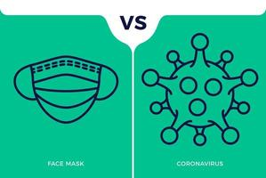 banner gezichtsmasker pictogram vs of versus coronavirus concept bescherming covid-19 teken vector illustratie. covid-19 preventie ontwerp achtergrond.