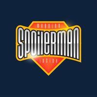 spoilerman alert grappige slogan. sport stijl embleem typografie. superheld spoiler man logo sticker voor je t-shirt, print, kleding. vector