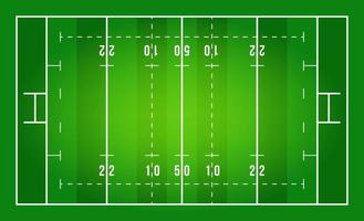 vlak groen rugbyveld. bovenaanzicht van rugbyveld met regelsjabloon. vector stadion.