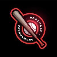 honkbal circulaire vector logo met vleermuis. moderne professionele typografie sport retro stijl vector embleem en sjabloon logo ontwerp. honkbal kleurrijk logo ontwerp.