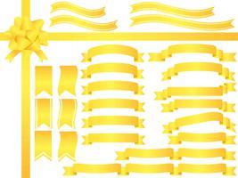 Een reeks geassorteerde gele linten. vector