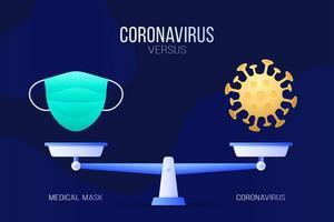 coronavirus of medische masker vectorillustratie. creatief concept van weegschaal en versus, aan de ene kant van de schaal ligt een virus covid-19 en aan de andere kant een maskerpictogram. platte vectorillustratie.