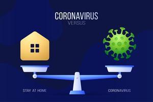 coronavirus of blijf thuis vectorillustratie. creatief concept van schalen en versus, aan de ene kant van de schaal ligt een virus covid-19 en aan de andere kant van het startpictogram. platte vectorillustratie.