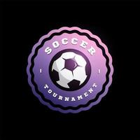voetbal voetbal circulaire vector logo. moderne professionele typografie sport retro stijl vector embleem en sjabloon logo ontwerp. voetbal kleurrijk logo
