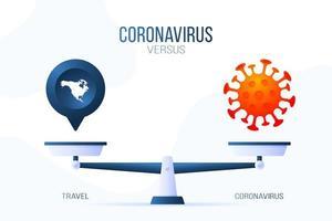 coronavirus of reis vectorillustratie. creatief concept van schalen en versus, aan de ene kant van de schaal ligt een virus covid-19 en aan de andere kant een pin-mappictogram. platte vectorillustratie.