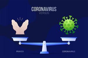 coronavirus of gebed vectorillustratie. creatief concept van weegschaal en versus, aan de ene kant van de schaal ligt een virus covid-19 en aan de andere kant bid handpictogram. platte vectorillustratie.