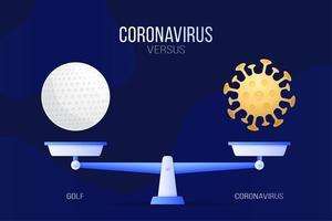 coronavirus of golf vectorillustratie. creatief concept van weegschaal en versus, aan de ene kant van de schaal ligt een virus covid-19 en aan de andere kant een golfbalpictogram. platte vectorillustratie.