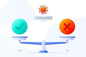 ja of nee coronavirus vectorillustratie. creatief concept van schalen en versus, aan de ene kant van de schaal ligt een ja-knop en aan de andere kant geen pictogram. platte vectorillustratie.