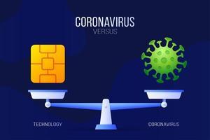 coronavirus of technologie vectorillustratie. creatief concept van weegschaal en versus, aan de ene kant van de schaal ligt een virus covid-19 en aan de andere kant een techchip-icoon. platte vectorillustratie.
