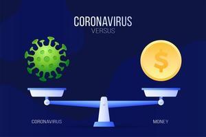 coronavirus of economische geld vectorillustratie. creatief concept van schalen en versus, aan de ene kant van de schaal ligt een virus covid-19 en aan de andere kant een geldmuntpictogram. platte vectorillustratie.