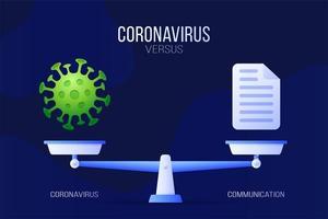 coronavirus of communicatie vectorillustratie. creatief concept van weegschaal en versus, aan de ene kant van de schaal ligt een virus covid-19 en aan de andere kant van het documentpictogram. platte vectorillustratie.
