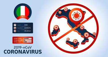 uitbraak van het coronavirus uit Wuhan, China. pas op voor nieuwe uitbraken van coronavirus in Italië. verspreiding van de nieuwe coronavirusachtergrond. vector