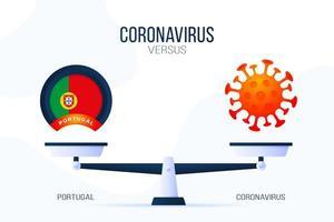 coronavirus of portugal vectorillustratie. creatief concept van weegschaal en versus, aan de ene kant van de schaal ligt een virus covid-19 en aan de andere kant van de vlag van Portugal. platte vectorillustratie.