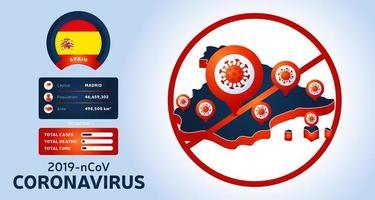 uitbraak van het coronavirus uit Wuhan, China. pas op voor nieuwe uitbraken van coronavirus in spanje. verspreiding van de nieuwe coronavirusachtergrond. vector