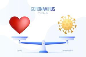 coronavirus of liefde vectorillustratie. creatief concept van weegschaal en versus, aan de ene kant van de schaal ligt een virus covid-19 en aan de andere kant een liefdehartpictogram. platte vectorillustratie.