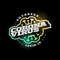 coronavirus covid-19 vector logo. moderne professionele typografie sport 2019-ncov uitbraak in retro-stijl vector embleem en sjabloonlogotype ontwerp. gevaar voor het coronavirus en ziekte voor de volksgezondheid