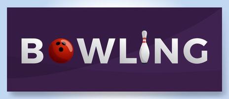 vector bowling club logo voor print, design, internet op paarse achtergrond vectorillustratie