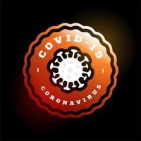 coronavirus covid-19 vector logo. moderne professionele cirkel sport 2019-ncov uitbraak in retro-stijl vector embleem en sjabloonlogotype ontwerp. gevaar voor het coronavirus en ziekte voor de volksgezondheid