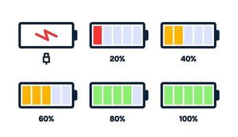 energieniveau pictogram. laadlading, batterij-indicator van de telefoon, energieniveau van de smartphone, batterij-energie leeg en vol statuspictogrammen ingesteld. stadia van het opladen van gadgets. opladen energie procent vector