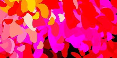 lichtroze, geel vectorpatroon met abstracte vormen.