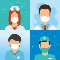 groep avatars van gezondheidswerkers vector