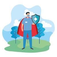 super paramedicus met schild en heldenmantel
