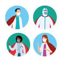 groep avatars van gezondheidswerkers