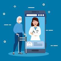 online geneeskunde technologie met smartphone en vrouwen vector