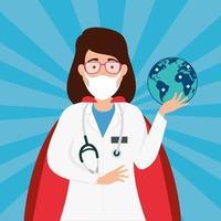 super dokter met heldin cape en globe
