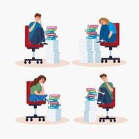 mensen die op stoelen zitten met een stressaanval en stapels documenten