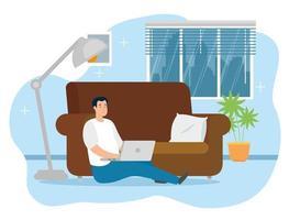 man aan het werk op de laptop binnenshuis