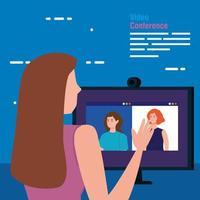 vrouw in een videoconferentie via computer