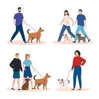 scènes van mensen die hun honden uitlaten