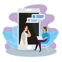 koppel in een videoconferentie met smartphone en laptop vector