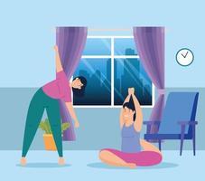 vrouwen die thuis yoga uitoefenen en doen