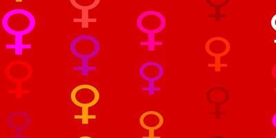lichtroze, geel vectorpatroon met feminismeelementen.