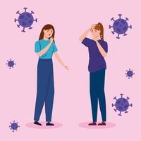 vrouwen met symptomen van het coronavirus
