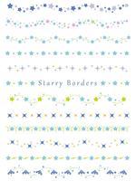 Een set van diverse randen met verschillende sterpatronen.