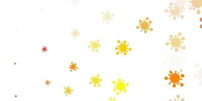 lichtoranje vectorpatroon met coronaviruselementen.