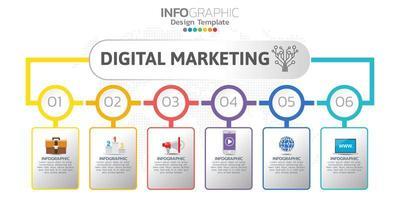 digitale online marketingbanner met pictogrammen voor zakelijke inhoud.