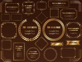 Een reeks geassorteerde gouden frames. vector