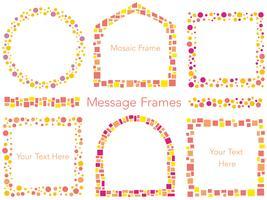 Een set van zes geassorteerde vector mozaïek bericht frames in herfstkleuren.