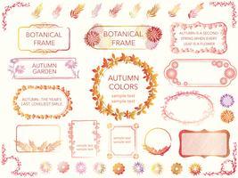 Een reeks geassorteerde kaders van bloemen en installaties in de herfstkleuren.